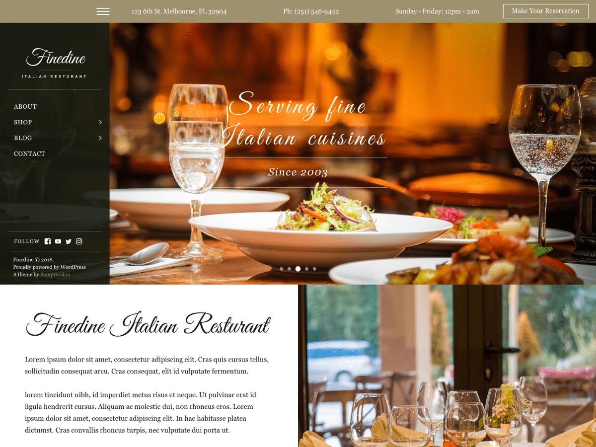 Finedine WordPress Theme by Sampression